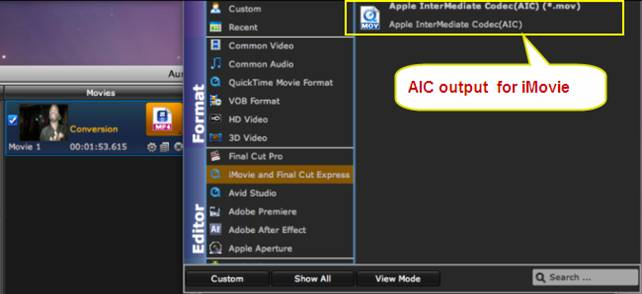 convert 1080p mts to aic for imovie