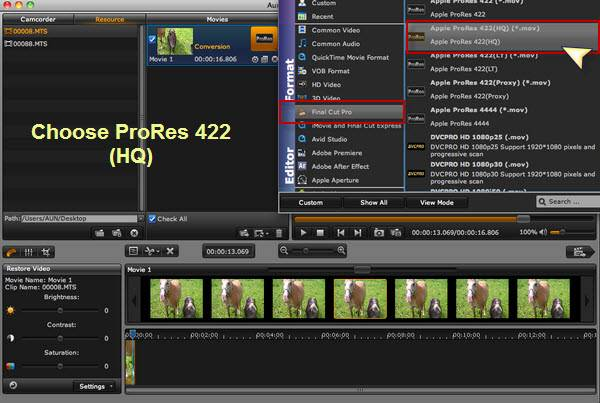 transcode mts to proress 422 hq