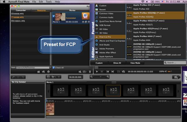 Import 1080p MTS clips to Final Cut Pro 6 – converting Panasonic ...