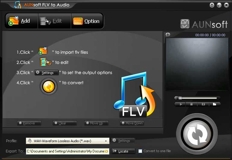 FLV to Audio, convert flash video to MP3