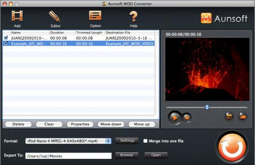 Aunsoft MOD Converter for Mac Screenshot