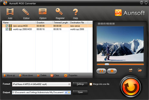 Aunsoft MOD Converter Screenshot
