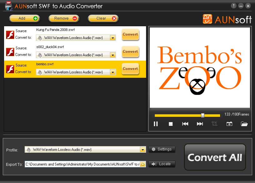 Screenshot of SWF to Audio converter 1.2