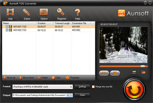 Aunsoft TOD Converter Screenshot