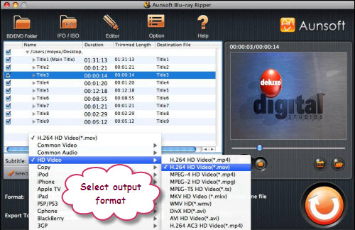 Blu-ray Ripper for Mac Tutorial, Choose Format