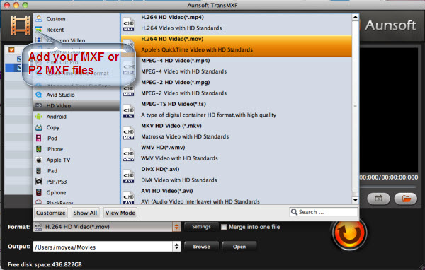 Convert MXF to QuickTime MOV