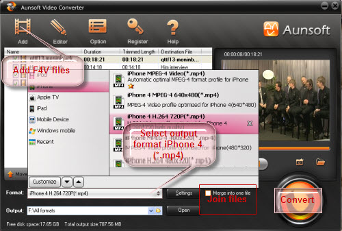 Convert F4V to iPhone 4