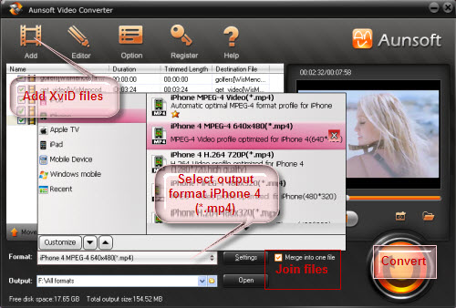 Convert XviD to iPhone 4