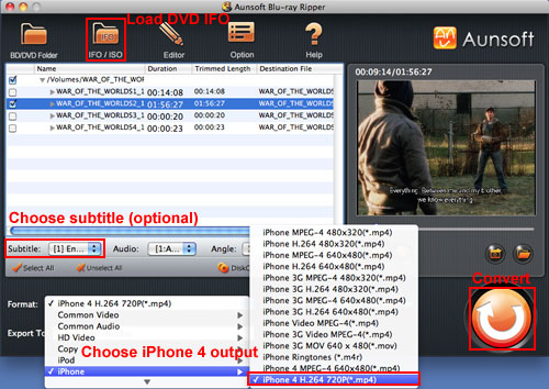 Convert DVD IFO to iPhone 4, DVD IFO iPhone 4 MP4