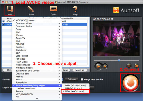 Convert Sony AVCHD MTS to AviD, MTS Quicktime H264 MOV