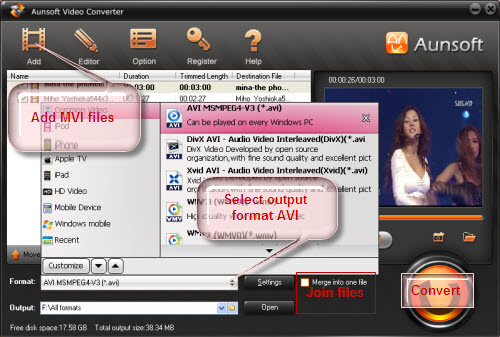 Convert MVI files to AVI, Convert MVI to AVI