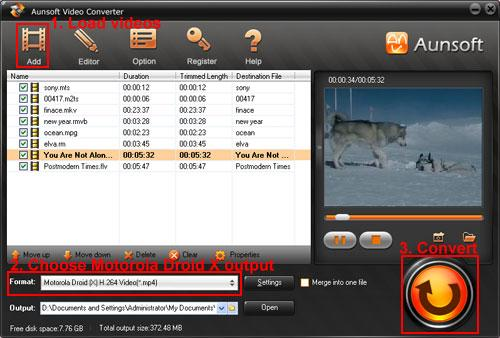 Convert/Mount Video to Motorola DroidX, Video Motorola Droid x MP4