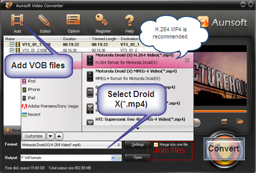 Convert VOB Files to Motorola Droid X