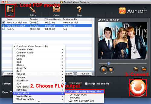 Export Movie from FCP to FLV, Convert FCP Movie FLV