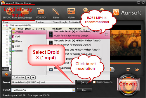 Convert Blu-Ray to Motorola Droid X, Convert Blu-ray to Droid X