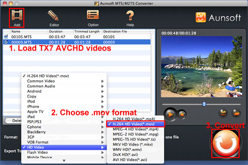 Play Sony TX7 MTS MOV Mac