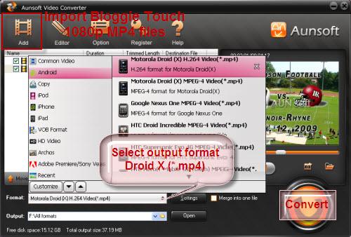 Convert Bloggie Touch 1080p Droid X