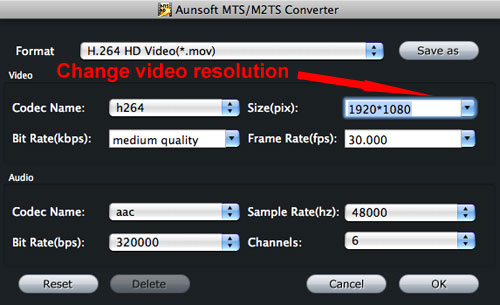 MTS MOV Resolution Settings