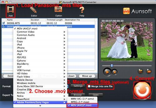 Convert SD700 MTS to MOV FCP