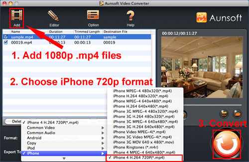 Sony 1080p MP4 720p iPhone4