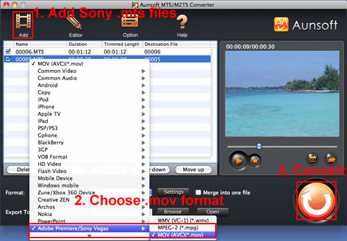 Sony HDR-CX350 MTS MOV Mac