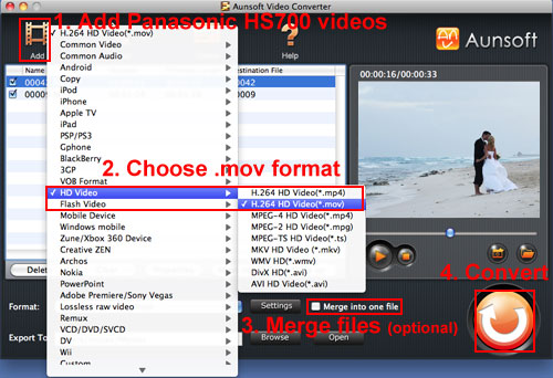HS700 1080p Video MOV Mac