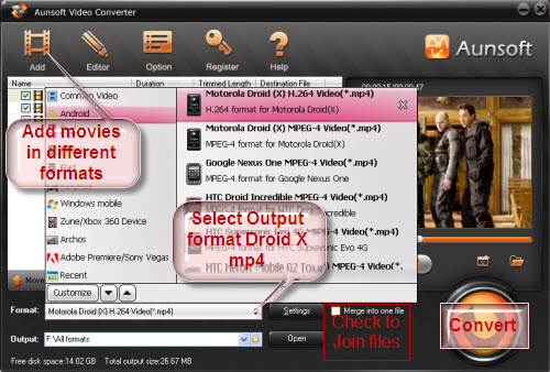 Convert Movie to Droid X