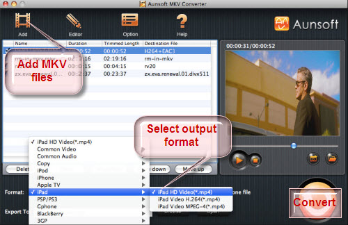 how to change video from mkv to mov