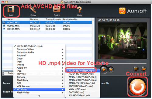 convert panasonic700 to mp4 youtube