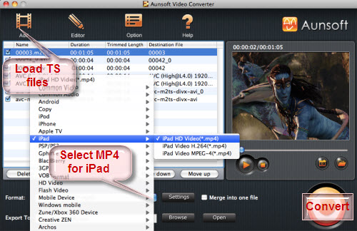 Convert/Play TS Transport Stream files to Apple iPad with