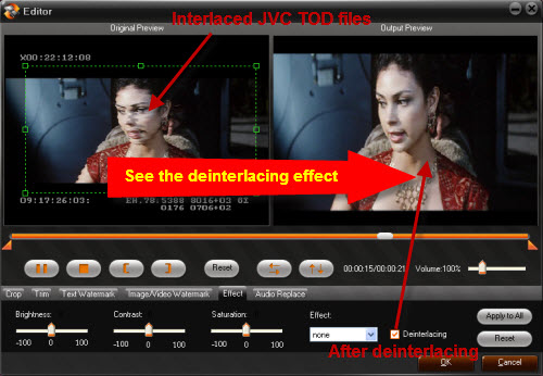 deinterlacing jvc tod files
