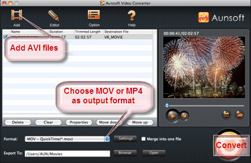 Play AVI Files with QuickTime Pro - Convert AVI to MOV/MP4