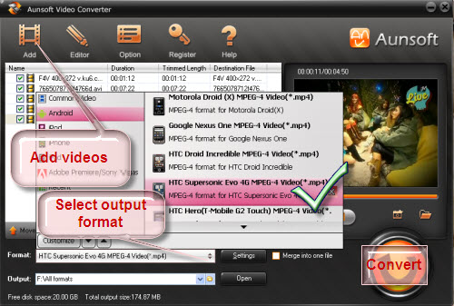 convert video to htc evo shift 4g