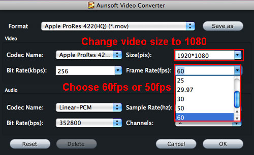 hs700 video prores hq 60fps
