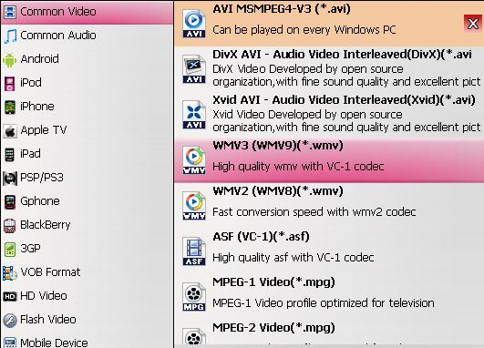 dvd ro wmp output format