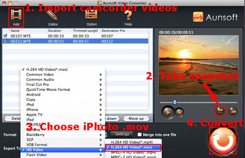 video capture mov iphoto