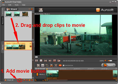 drag drop clips to movie