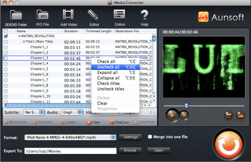 iMedia Converter for Mac Tutorial, Check and Uncheck