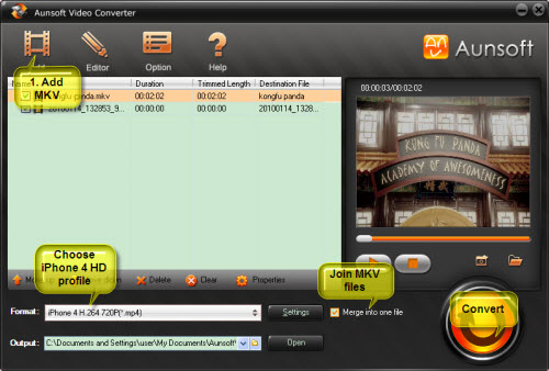 Convert MKV Video to iPhone 4