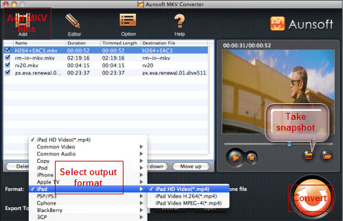 MKV Converter for Mac Tutorial, Choose Format