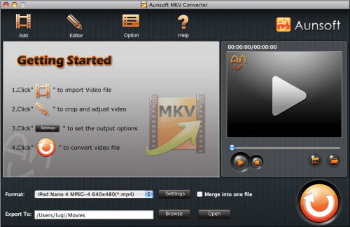 MKV Converter for Mac Tutorial, Main