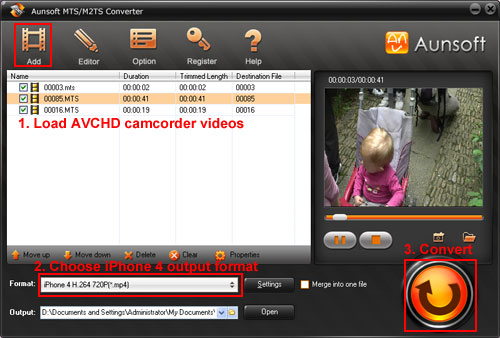 Convert AVCHD MTS/M2TS to iPhone 4, AVCHD Camcords iPhone 4 MP4