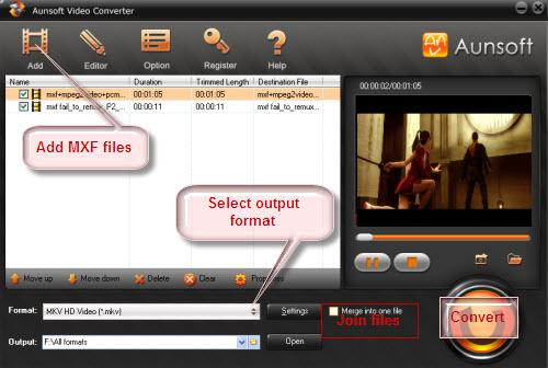 Best way to convert MXF to AVI, Convert MXF Files