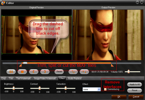 Play, convert and edit MXF files, Edit MXF Files