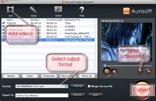 Video Converter for Mac Tutorial, Choose Format