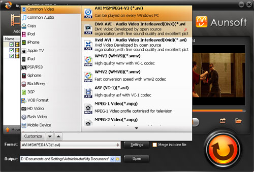 Aunsoft MTS/M2TS Converter for Mac Screenshot
