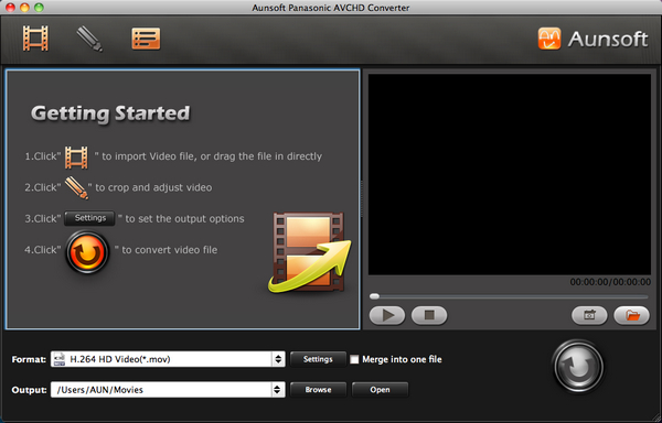Aunsoft Panasonic AVCHD Converter for Mac Screenshot