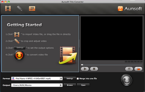 Aunsoft Tivo Converter for Mac Screenshot
